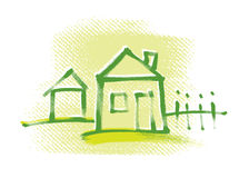 House icon, freehand drawing Stock Photo