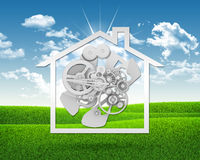 House icon with gears Royalty Free Stock Images