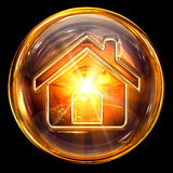 House icon glass. Isolated on black background Stock Photography