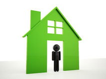 House icon green with man Royalty Free Stock Photo