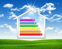 House icon with grid energy efficiency Royalty Free Stock Photography