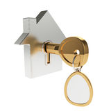 House icon with key. 3d illustration of house icon with key isolated on white Royalty Free Stock Photo