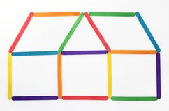 House icon made colorful wood Stock Photos