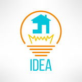 House icon made in modern clean and simple flat. Design. Home symbol in light bulb. Vector illustration Royalty Free Stock Photography