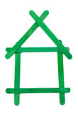 House icon made out of wood.  Stock Photos