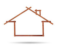 House icon made of wood. On white background royalty free stock image