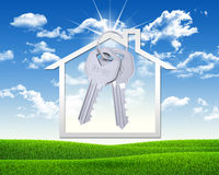 House icon and metal keys Royalty Free Stock Photos