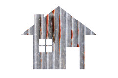 House icon from old zinc texture isolated on white Stock Photo