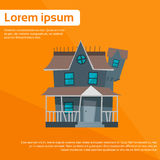 House Icon Orange Halloween Flat Vector. Illustration Royalty Free Stock Photography