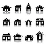 House icon set. In bşack and white Royalty Free Stock Photos
