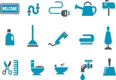 House Icon Set. Vector icons pack - Blue Series, house collection Royalty Free Stock Photography