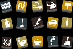 House Icon Set. Vector icons pack - Yellow-Brown-Blue Series, house collection Stock Photography