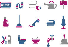 House Icon Set. Vector icons pack - Blue-Fuchsia Series, house collection Royalty Free Stock Image