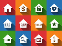 House icon set colorful Stock Images