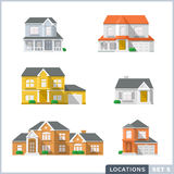 House icon set 1. Colourful Flat illustrations of Private residential architecture. Home icons Royalty Free Stock Photos