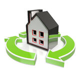 House Icon Shows Home Flipping Stock Photo