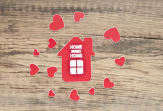 House icon and small hearts. Royalty Free Stock Photo