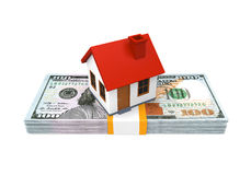House Icon and Stacks of Dollar Bills Stock Image