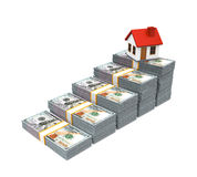 House Icon and Stacks of Dollar Bills Stock Photos