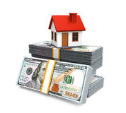 House Icon and Stacks of Dollar Bills Royalty Free Stock Image