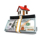House Icon and Stacks of Dollar Bills Royalty Free Stock Images