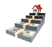 House Icon and Stacks of Dollar Bills Royalty Free Stock Photo