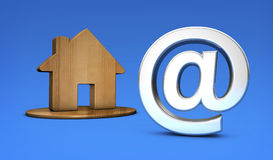 House Icon And At Symbol Online Property. And real estate agency concept 3D illustration Royalty Free Stock Images