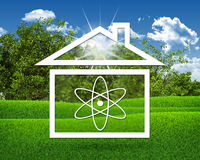House icon with symbol of science Royalty Free Stock Photos
