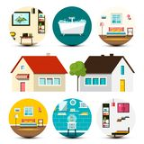 House Icon. Vector Family Houses Set with Interiors. House Icon. Vector Family Houses Set with Interior Bubbles royalty free illustration