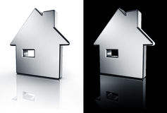 House icon on white and black floor Royalty Free Stock Photos