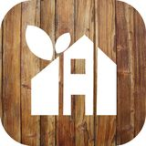 House icon on a wooden background stock images