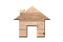 House icon from wooden texture  isolated on white Royalty Free Stock Images