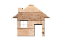House icon from wooden texture  isolated on white Royalty Free Stock Photo