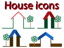 House icons. 3d house icons with trees against white background, abstract vector art illustration Royalty Free Illustration