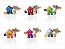 House icons. Set of cartoon house icons with various wooden signs. More icons in my portfolio Vector Illustration