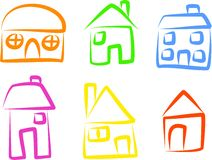 House icons. A set of simple house icons isolated on white vector illustration