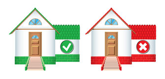 House icons accepted and rejected Royalty Free Stock Photography