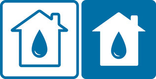 House icons with big water drop. Two blue house icons with big water drop silhouette Royalty Free Stock Photos