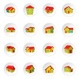 House icons, cartoon style. House icons set. Cartoon illustration of 16 house icons for web vector illustration