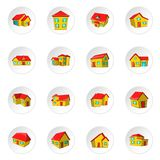 House icons, cartoon style. House icons set. Cartoon illustration of 16 house vector icons for web vector illustration