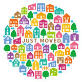 House icons in circle. house‐moving greeting card. Stock Photos