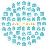House icons in circle. house moving greeting card. Stock Image