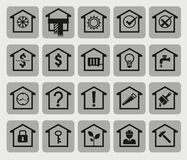 20 house icons. House icons, different aspects of real property Royalty Free Stock Image