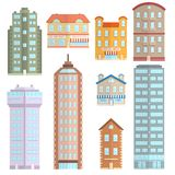 House Icons Flat Set. House apartment town and city building decorative icons flat set isolated vector illustration Royalty Free Stock Image