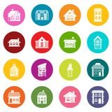 House icons many colors set Royalty Free Stock Photo
