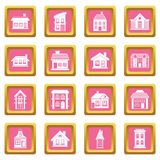 House icons pink Royalty Free Stock Photos