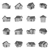 House icons set, black monochrome style Royalty Free Stock Images