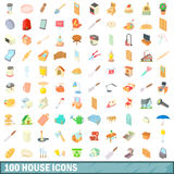 100 house icons set, cartoon style. 100 house icons set in cartoon style for any design vector illustration Stock Photos