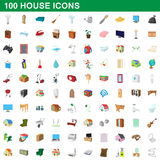 100 house icons set, cartoon style. 100 house icons set in cartoon style for any design vector illustration Stock Illustration