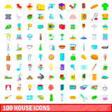 100 house icons set, cartoon style. 100 house icons set in cartoon style for any design vector illustration Royalty Free Stock Photography